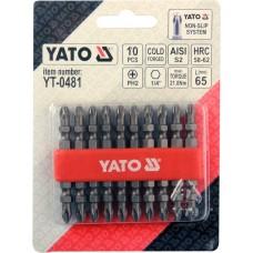 Набор бит 1/4 РН2 65мм  (10 предмет.) YATO 0481