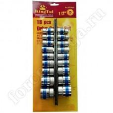 Набор инструмента King Tul 1/2 головки на план. 18 предметов 12 граней КТ3033