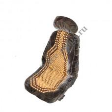 Накидка на сиденье АВТОСТОП дерев. шарик черно-сер 3246-4