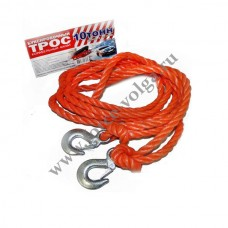 Трос буксир 10 тонн (Полярник) РЫВОК веревка 2 крюка ПАКЕТ
