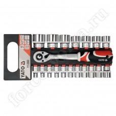 Набор инструмента YATO головки + трещетка 19 предметов 3868
