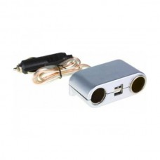 Разветвитель гнезда прик. на 2 вых+USB. серебро С-02 ИНТЕГО