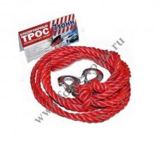 Трос буксир 7 тонн (Полярник) РЫВОК веревка 2 крюка в пакете