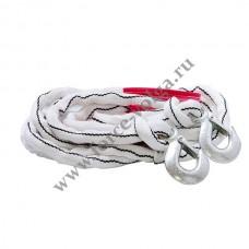 Трос буксир 10 тонн (Полярник) веревка 2 крюка (в пакете)