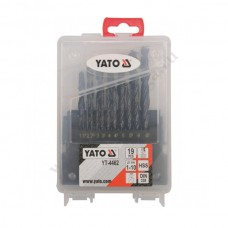 Сверла по металл у (набор 19 шт.) YATO (1-10мм.) Пластик 4462